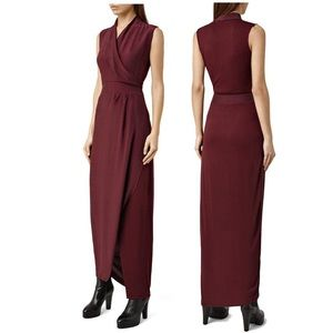 AllSaints Lani Dress Rust Maroon Maxi Faux Wrap 6